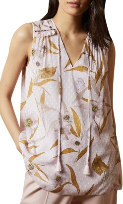 Ted Baker Jiylena Cabana Smocked Sleeveless Tank Top