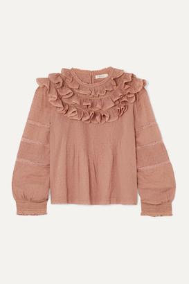 DÔEN Atalia Ruffled Lace-trimmed Swiss-dot Cotton Blouse