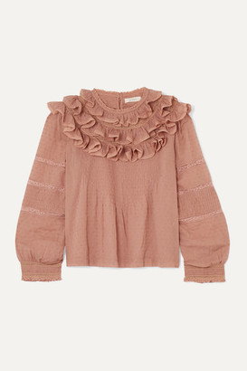 DÔEN Atalia Ruffled Lace-trimmed Swiss-dot Cotton Blouse - Pink