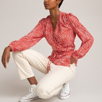 La Redoute Collections Long-Sleeved Wrapover Blouse