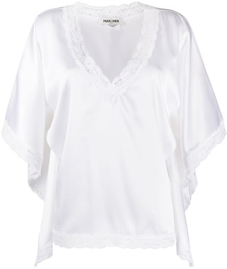 Max & Moi Silk Oversized Lace Trim Top