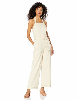 Moon River Women's Halter Jumpsuit with Matching Belt
