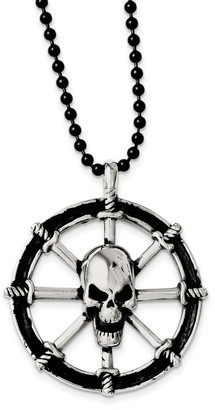 Chisel Stainless Steel Antiqued Pirates Wheel with Skull 30-inch Necklace