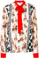 MSGM printed pussy-bow detail shirt