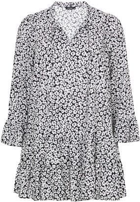 Evans Black Floral Print Tiered Hem Dress