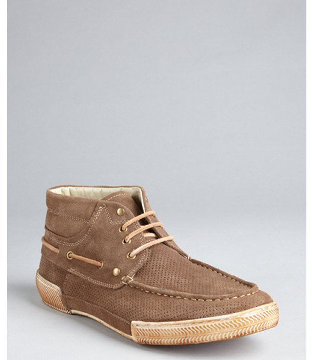Rogue chestnut perforated suede 'Trouble Maker' chukka boots