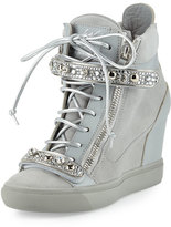 Giuseppe Zanotti Tiana Crystal High-Top Wedge Sneaker, Gray