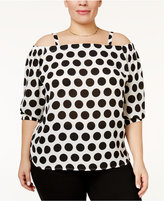INC International Concepts Plus Size Off-The-Shoulder Polka-Dot Top, Only at Macy's
