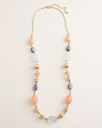 Chico's Long Colorful Beaded Single-Strand Necklace