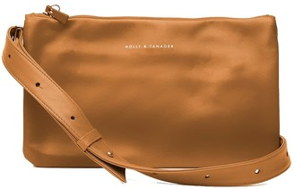 Holly & Tanager Companion Mini Leather Crossbody Clutch In Caramel