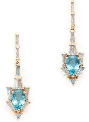 Rosegold Nak Armstrong Anchor Rose-Gold & Aquamarine Earrings