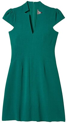 Vince Camuto Kors Crepe Fit-and-Flare with Notch Neck Topstitch Detail (Emerald) Women's Clothing