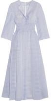 Emilia Wickstead Madeleine Shirred Floral-print Cotton Midi Dress - Light blue