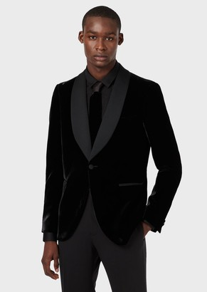 Emporio Armani Slim-Fit Smoking Jacket In Fluid Velvet