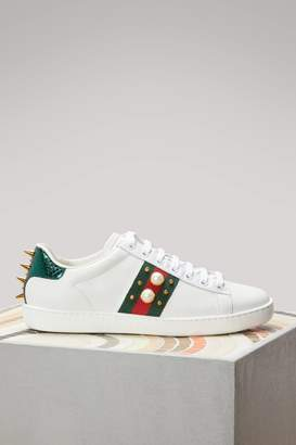 Gucci Studded Leather Low-Top Ace Sneakers