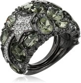 Kenneth Jay Lane Gunmetal, Hematite and Rhinestone Star Dome Ring, Size 5-7