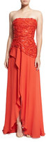 Elie Saab Beaded Strapless Wrap Gown, Tangerine