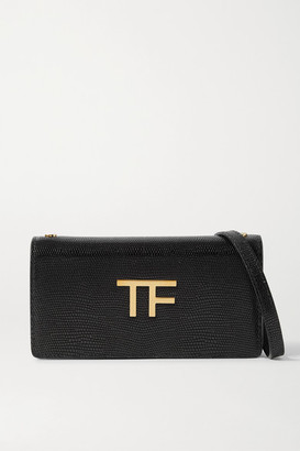 Tom Ford Tf Mini Embellished Lizard-effect Leather Shoulder Bag - Black