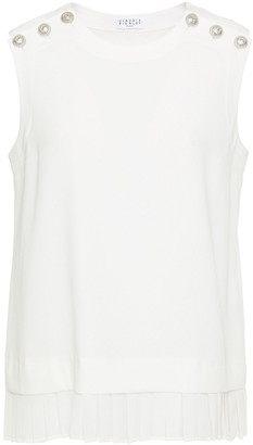 Claudie Pierlot Button-embellished Pleated Crepe Top
