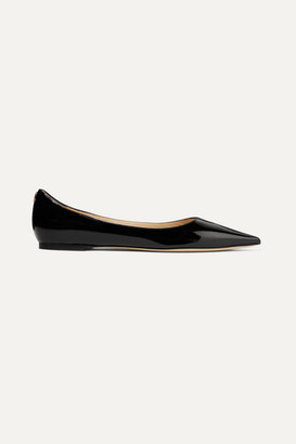 Jimmy Choo Love Patent-leather Point-toe Flats - Black
