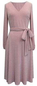 Jessica Howard Glitter-Knit Balloon-Sleeve Fit & Flare Dress