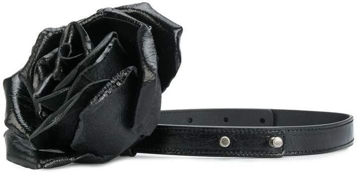 floral embellished thin belt - Black Saint Laurent ytCxA