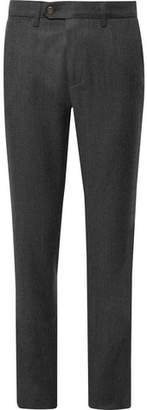 Canali Charcoal Slim-Fit Melange Virgin Wool-Flannel Trousers