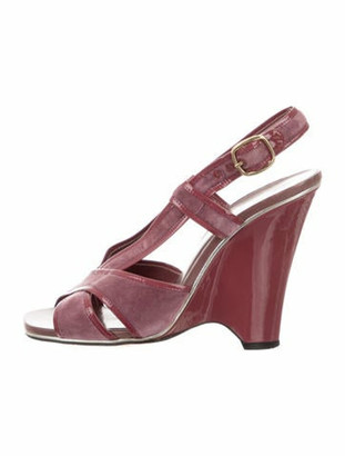 Marc Jacobs Velvet Wedge Sandals Mauve