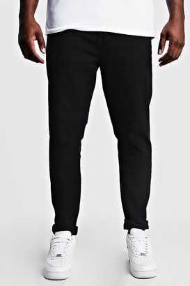 boohoo Mens Black Plus Size Skinny Fit Jeans, Black