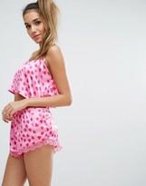 Boohoo Heart Print Cami And Short Pajama Set