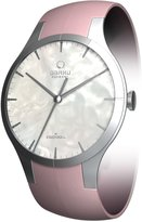 Obaku Women's Confidence White Mother Of Pearl Dial Pink Leather