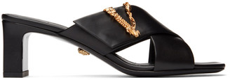 Versace Black Cross-Over Vitrus Mules