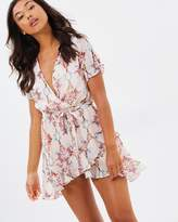 Missguided Wrap Over Short Sleeve Chiffon Floral Mini Dress