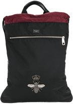 Dolce & Gabbana bee crest appliqué backpack - men - Polyamide/Polypropylene/Lamb Skin - One Size