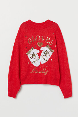 H&M Knit Sweater with Sequin Motif