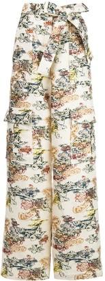 Oscar de la Renta Floral Fil Coupe Cargo Trousers