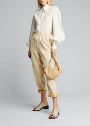 Forte Forte Pinstriped Cotton Linen Elastic Pants