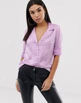 Asos Design DESIGN relaxed satin long sleeve shirt
