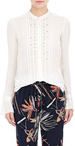 Maiyet Women's Embellished Pintucked Blouse-WHITE
