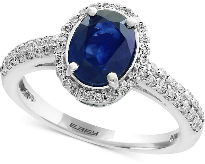 Effy Royale Bleu by Sapphire (1-3/8 ct. t.w.) and Diamond (1/3 ct. t.w.) Ring in 14k White Gold, Created for Macy's