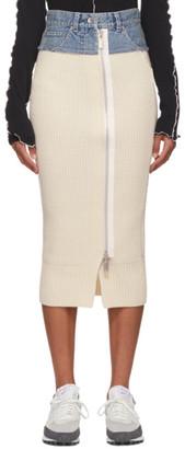Sacai Off-White Denim and Wool Zip Skirt