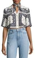 Cinq à Sept Dani Cropped Scarf-Print Silk Camp Shirt