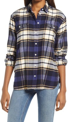 "Madewell Madwell"" Flannel Flap-Pocket Oversized Ex-Boyfriend Shirt in Coltrane Plaid"