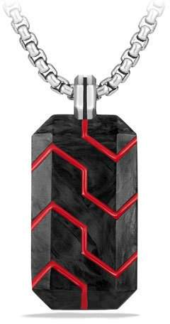 David Yurman Forged Carbon & Resin Dog Tag, Red