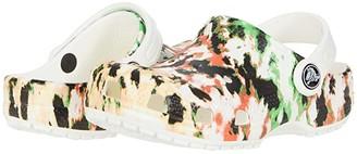 Crocs Classic Tie-Dye Mania Clog (Toddler/Little Kid/Big Kid) (White/Multi) Kid's Shoes
