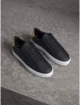 Burberry Perforated Check Leather Trainers , Size: 42, Black