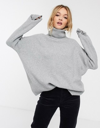 And other stories & high neck ovoid sleeve sweater in gray