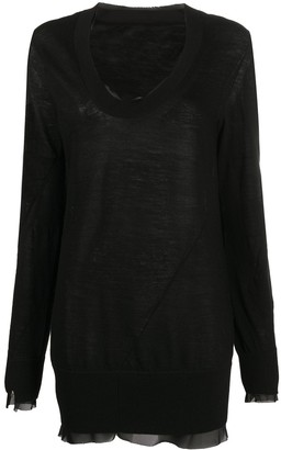 Sacai Chiffon-Trimmed Sweater Dress
