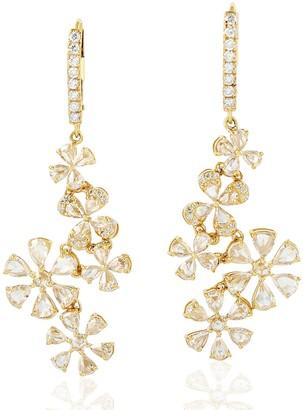 Artisan 18Kt Yellow Gold Genuine Diamond Flower Shape Dangle Earrings Handmade Jewelry