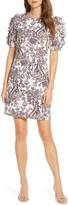 Eliza J Paisley Puff Sleeve Linen Blend Shift Dress